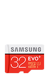 Samsung Micro SD EVO+ 32GB Memory Card w/Adapter Red