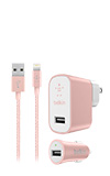 Belkin Metallic Charging Bundle (2.4A Wall Charger, 2.4A Auto Charger, Lightning Braided Cable)
