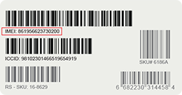 IMEI label. If you have trouble reading the label for your device, call 800.331.0500.